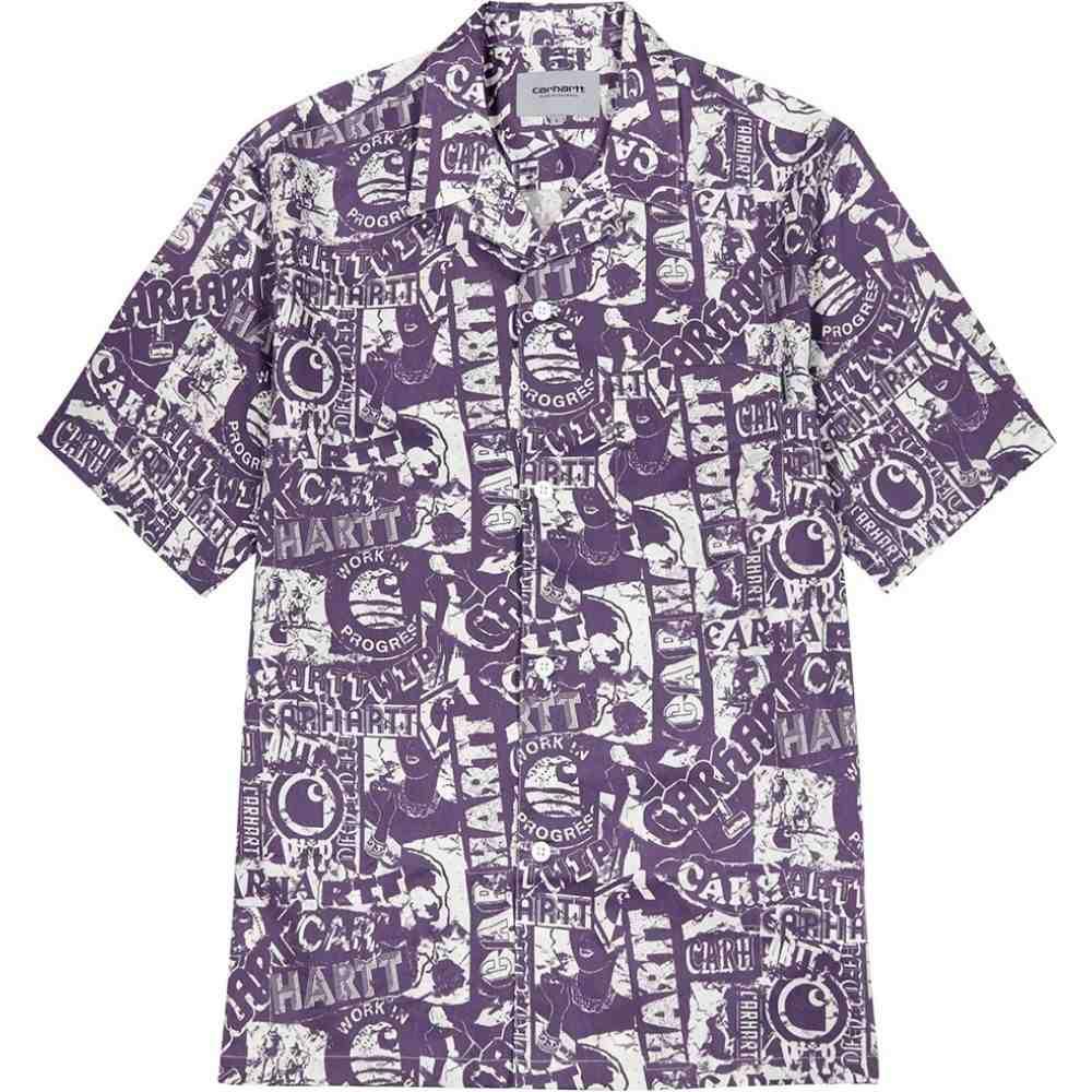カーハート Carhartt WIP メンズ 半袖シャツ トップス【Collage Printed Cotton-Blend Shirt】Purple