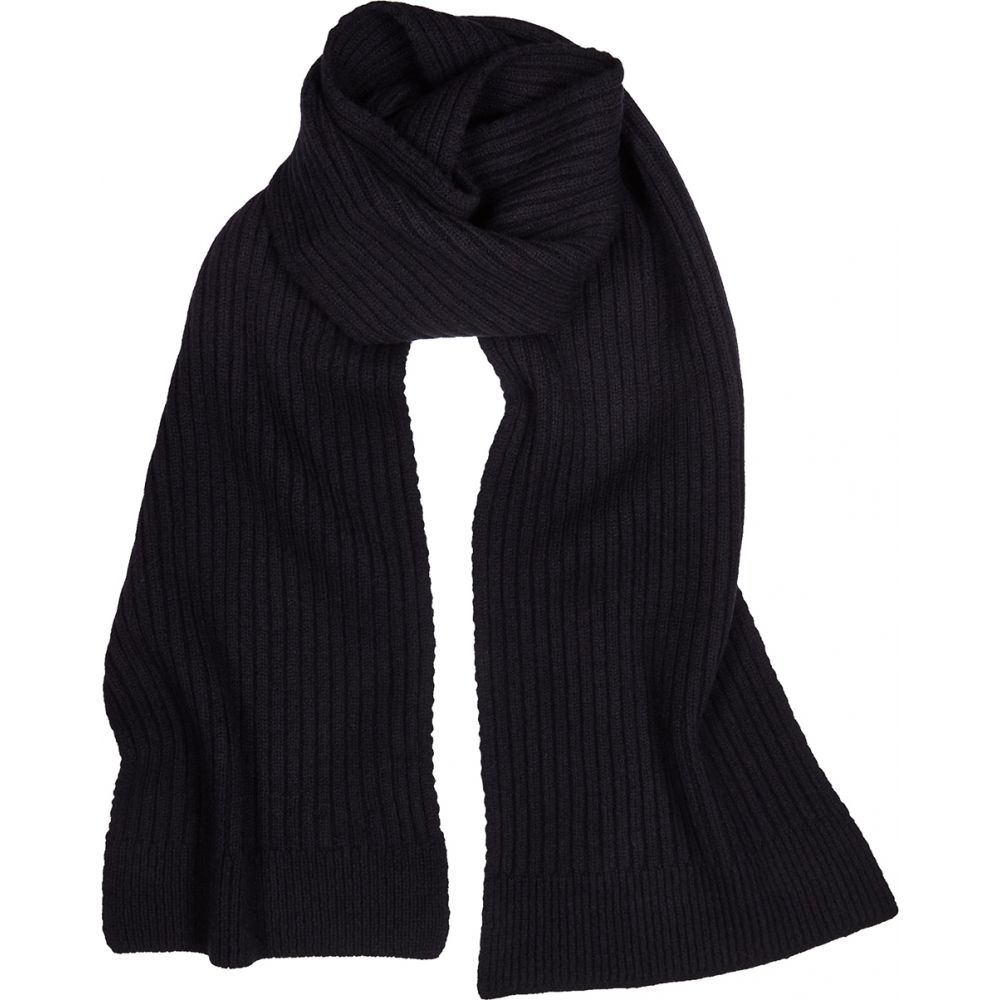 サンスペル Sunspel メンズ マフラー・スカーフ・ストール 【Navy Ribbed-Knit Wool Scarf】Navy
