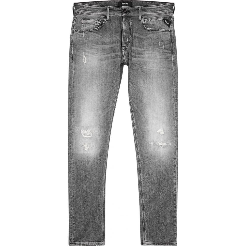 リプレイ Replay メンズ ジーンズ・デニム ボトムス・パンツ【Wilby Grey Distressed Slim-Leg Jeans】Grey