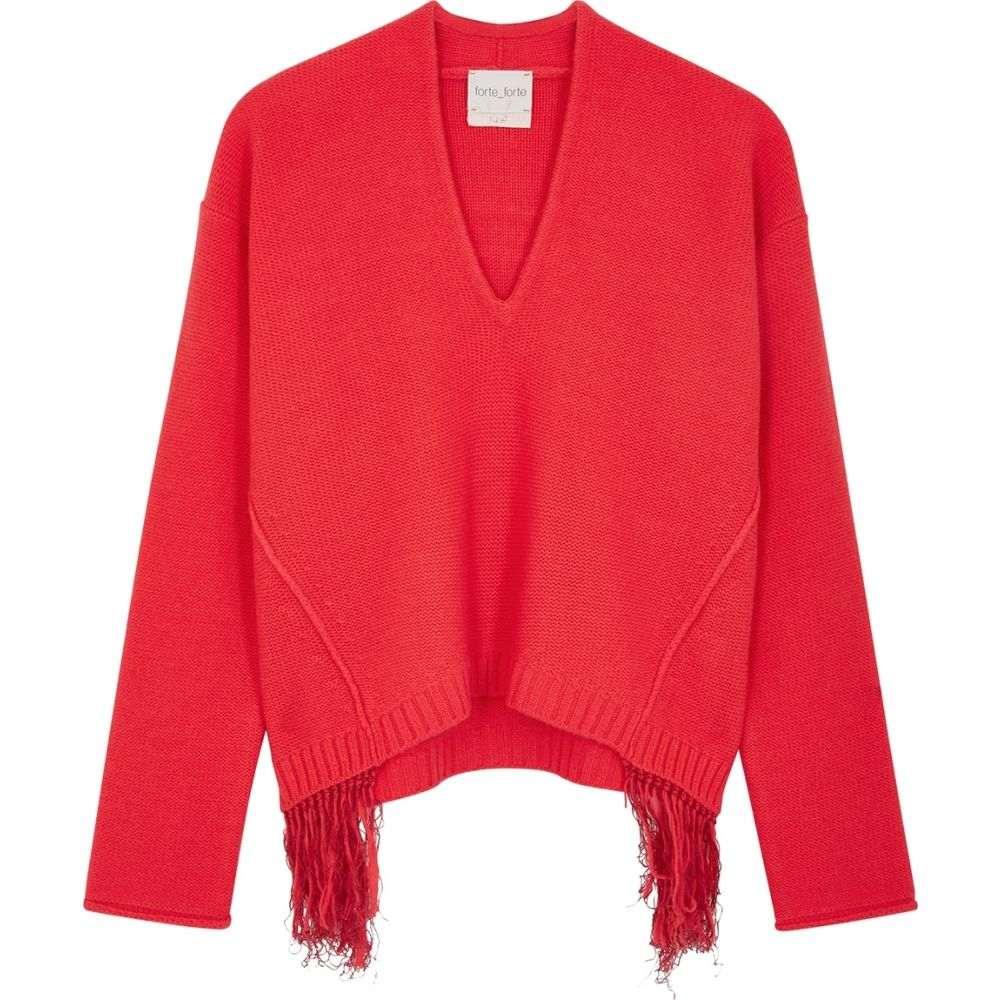 フォルテ フォルテ forte_forte レディース ニット・セーター トップス【Red Fringed Wool-Blend Jumper】Red