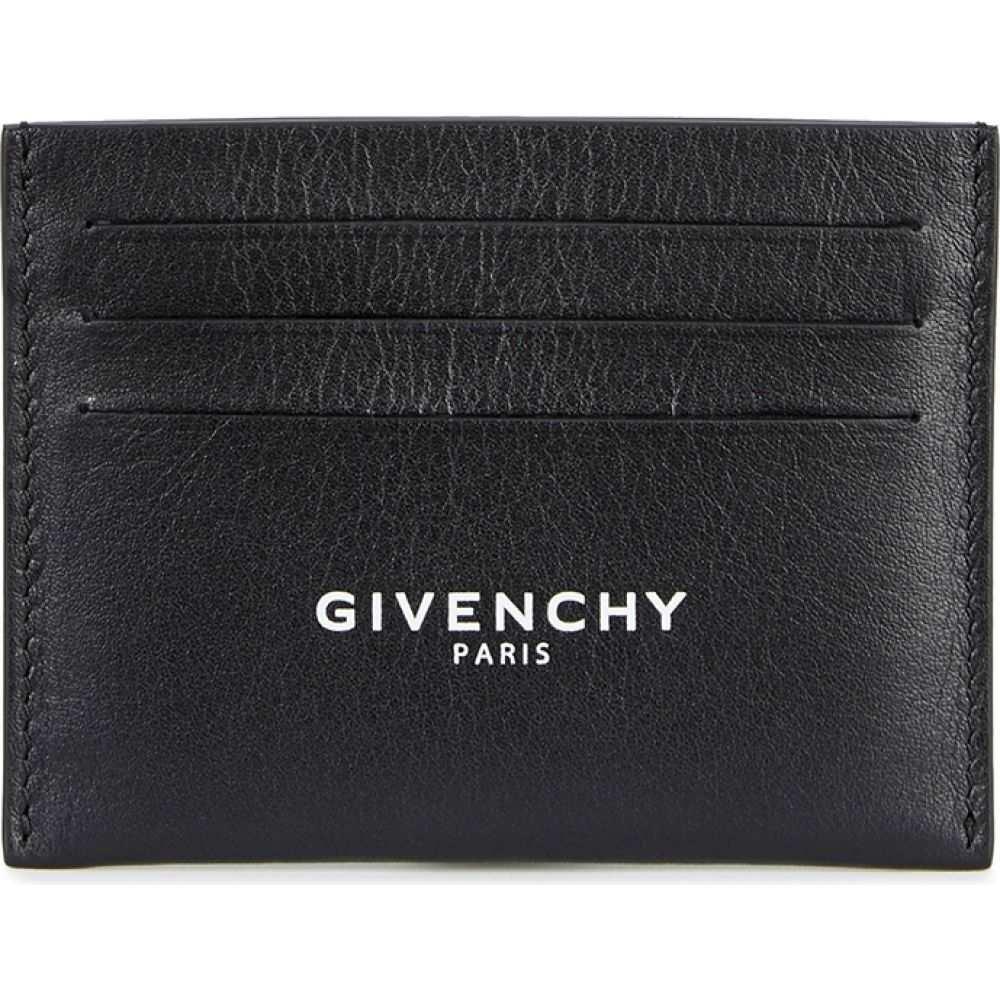 ジバンシー Givenchy レディース カードケース・名刺入れ カードホルダー【Black Logo Leather Card Holder】Black