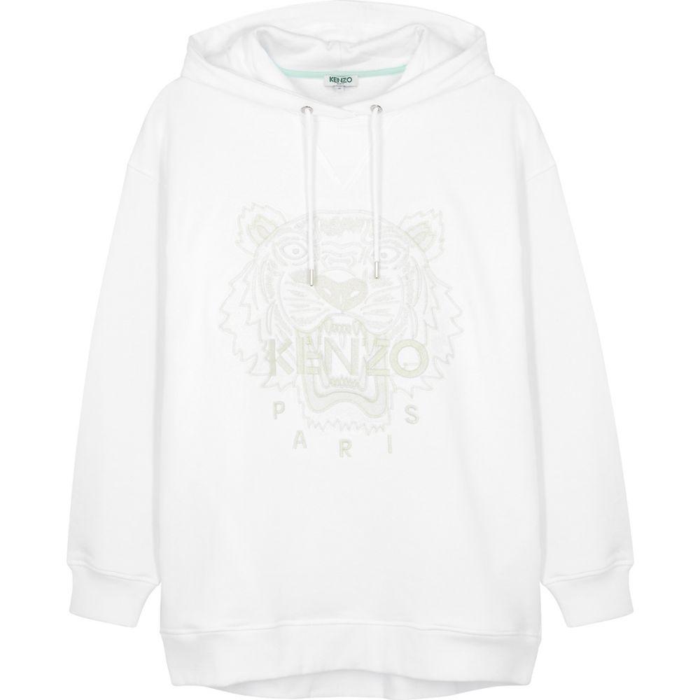 ケンゾー Kenzo レディース パーカー トップス【Tiger-Embroidered Hooded Cotton Sweatshirt】White