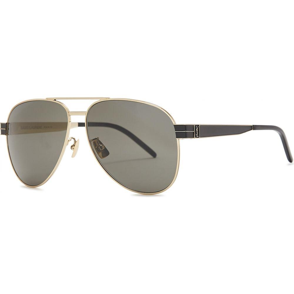 イヴ サンローラン Saint Laurent レディース メガネ・サングラス 【Slm53 Gold-Tone Aviator-Style Sunglasses】Grey
