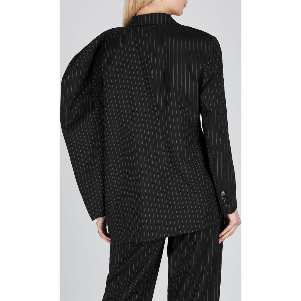 プッシュボタン pushBUTTON レディース スーツ・ジャケット アウター Black Pinstripe Wool Blend Blazer BlackgyYb67f
