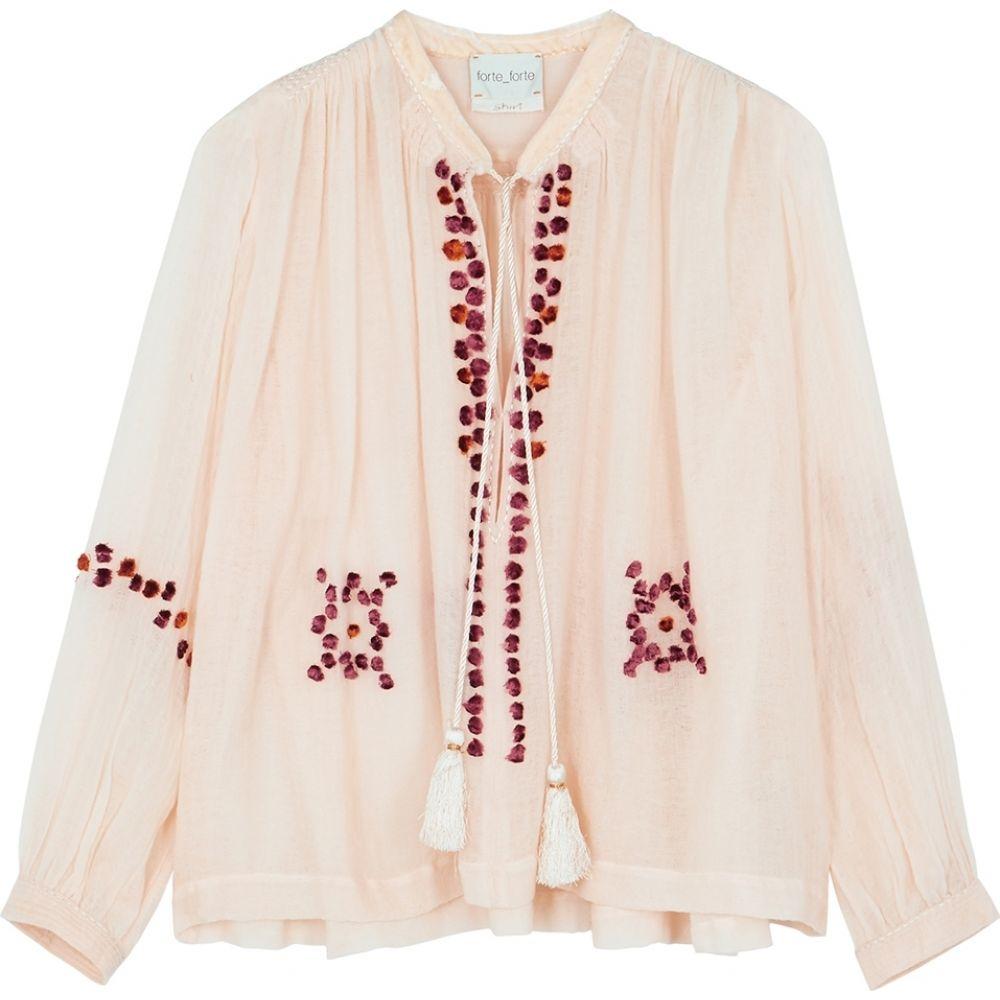 フォルテ フォルテ forte_forte レディース ニット・セーター トップス【Blush embellished fine-knit wool top】Multi