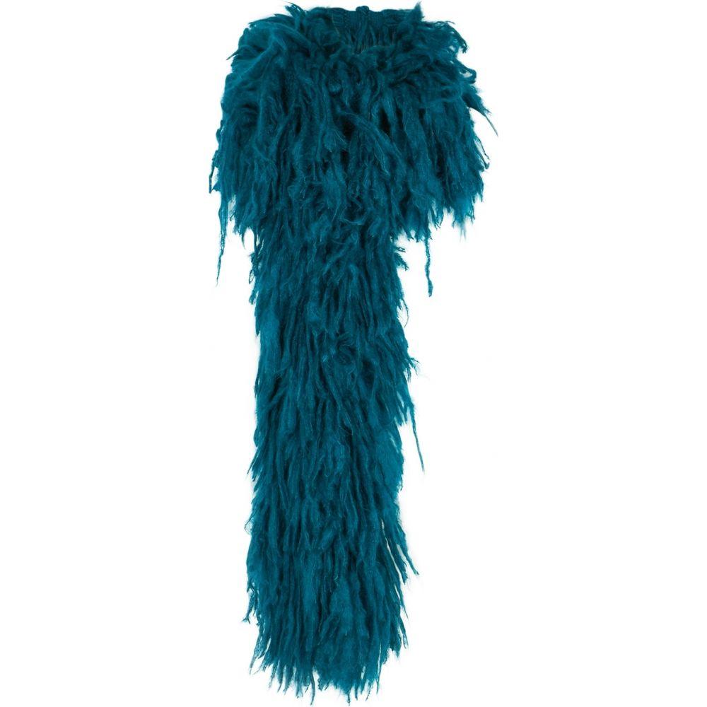 ドリス ヴァン ノッテン Dries Van Noten レディース マフラー・スカーフ・ストール 【Minouch teal tasseled mohair-blend scarf】Blue