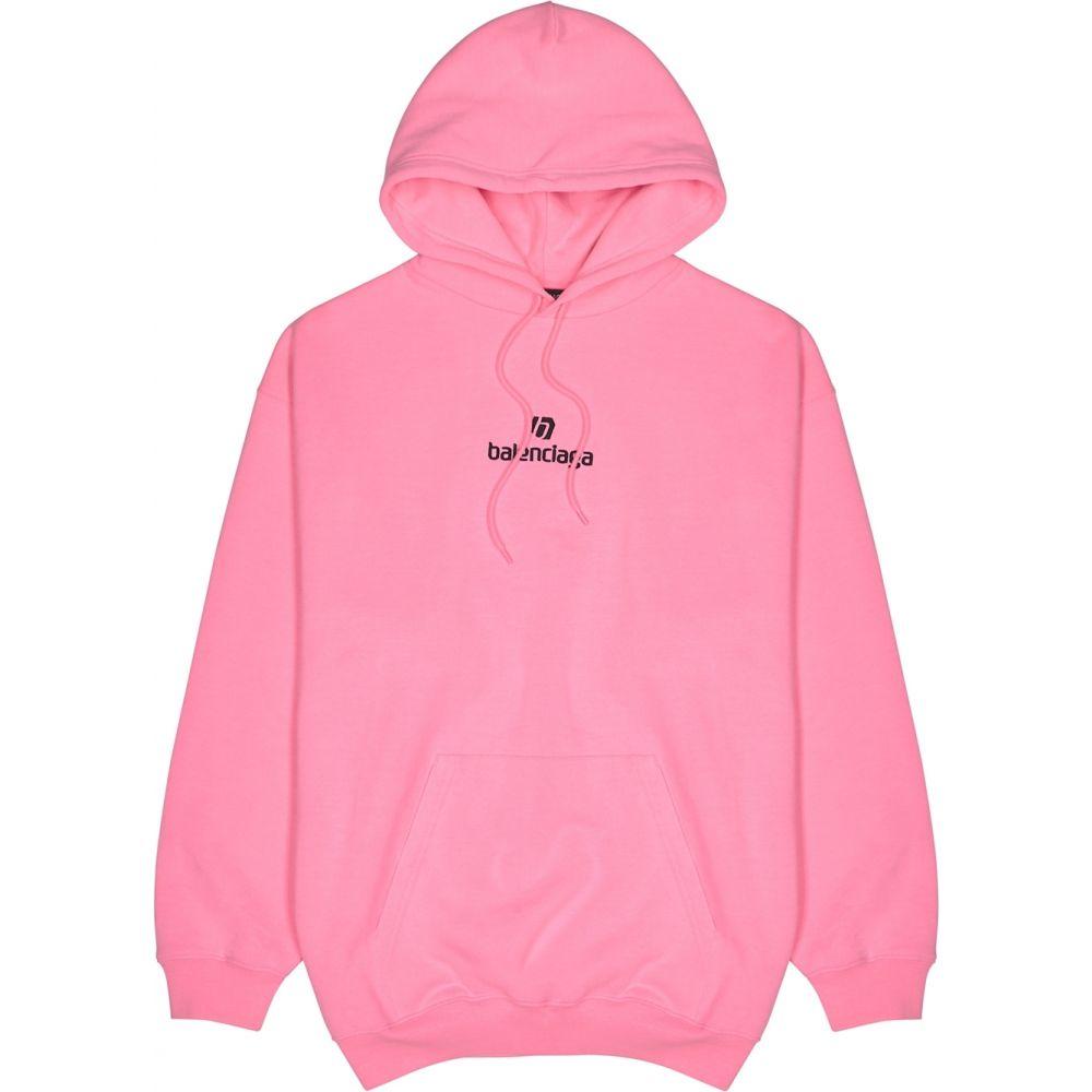 バレンシアガ メンズ トップス パーカー サイズ交換無料 Balenciaga Neon Hooded Cotton 売買 Sweatshirt Pink 安全