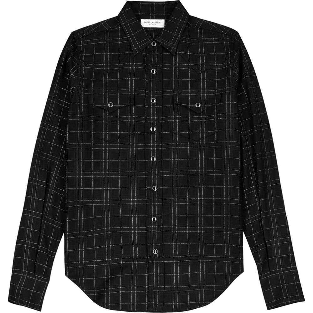 有名な高級ブランド イヴ サンローラン イヴ Shirt】Black Saint Laurent シャツ メンズ シャツ トップス【Black Checked Wool-Blend Shirt】Black, 絶妙なデザイン:e45695d4 --- eraamaderngo.in
