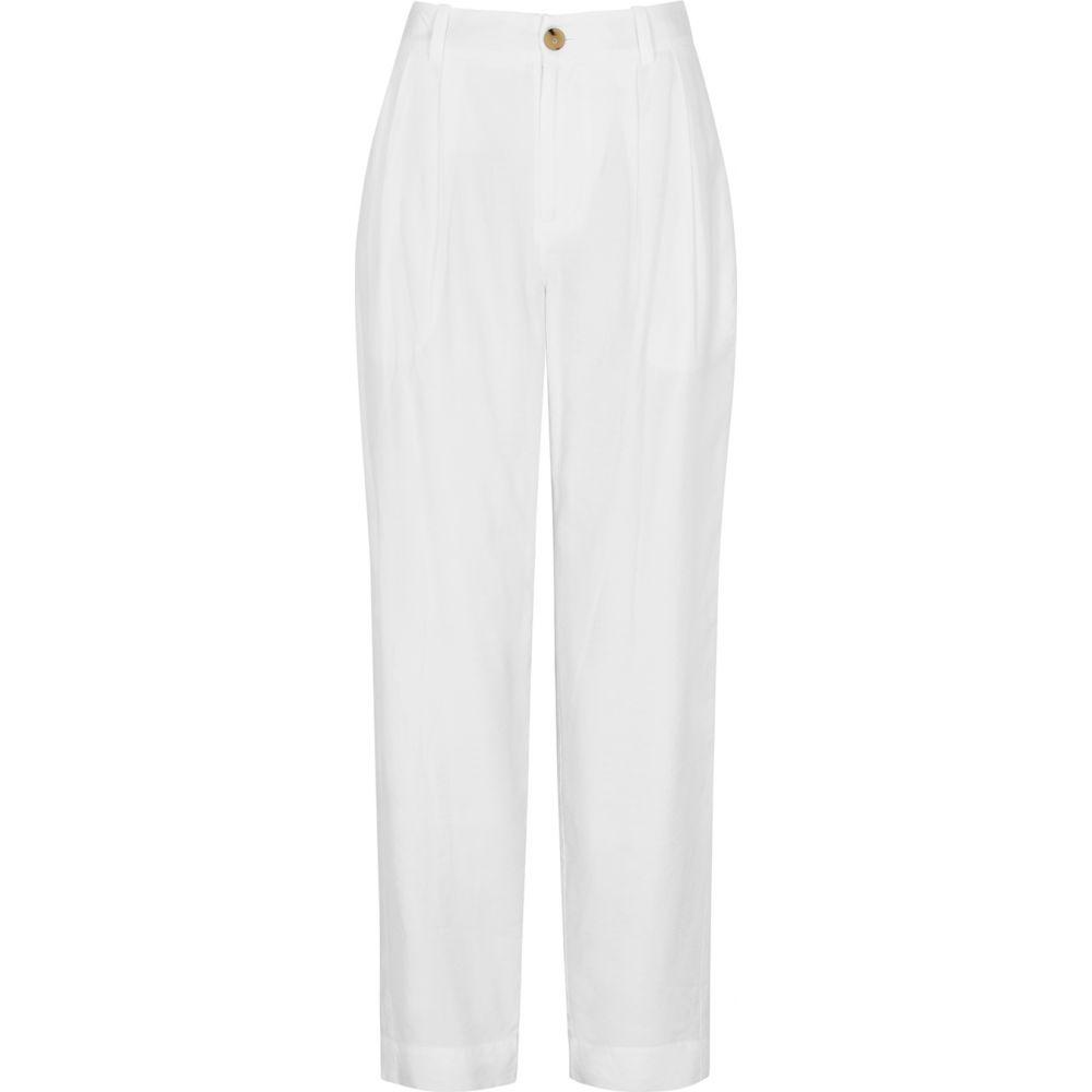 ヴィンス Vince レディース ボトムス・パンツ 【White Tapered-Leg Twill Trousers】White