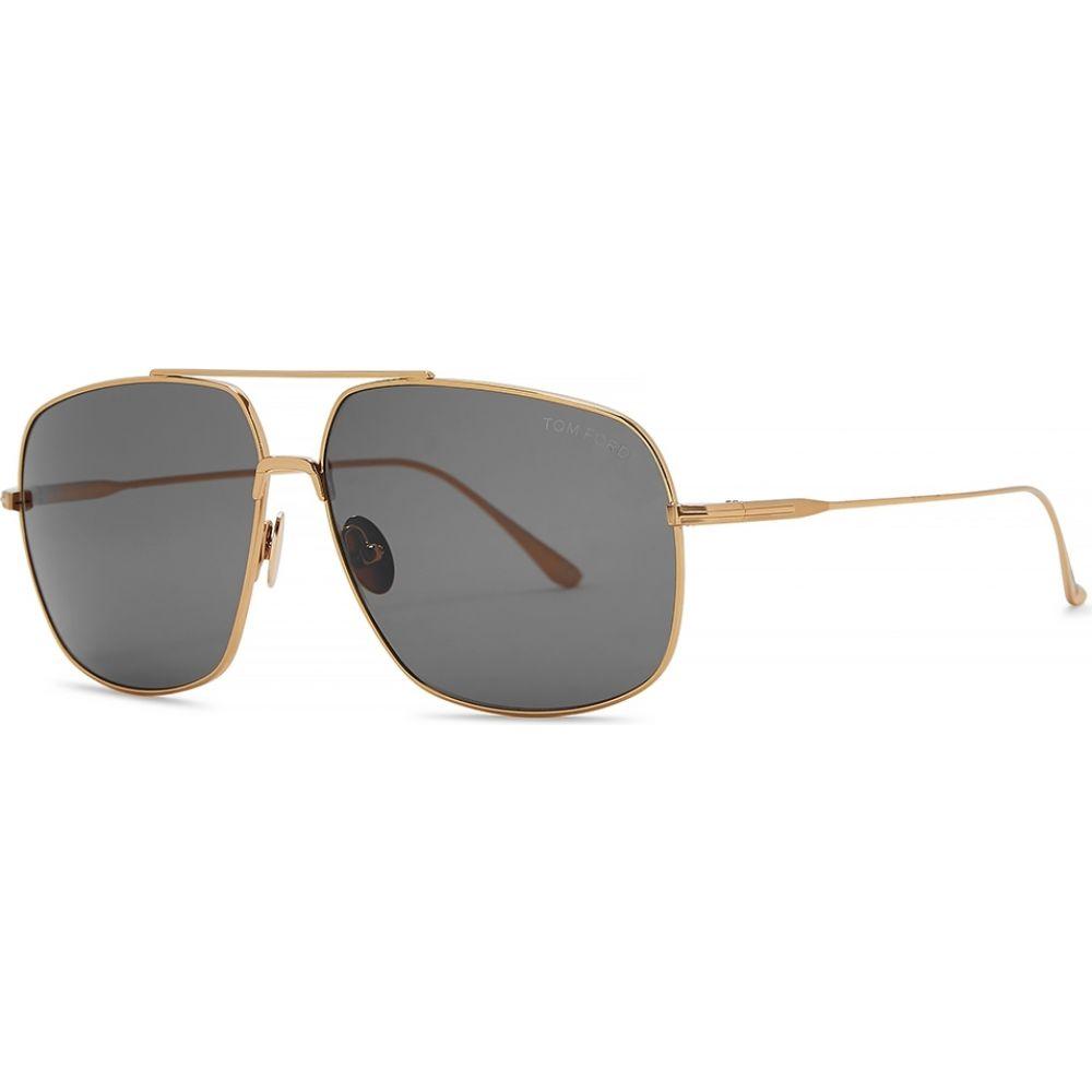 トム フォード Tom Ford Eyewear レディース メガネ・サングラス 【John Gold-Tone Aviator-Style Sunglasses】Gold