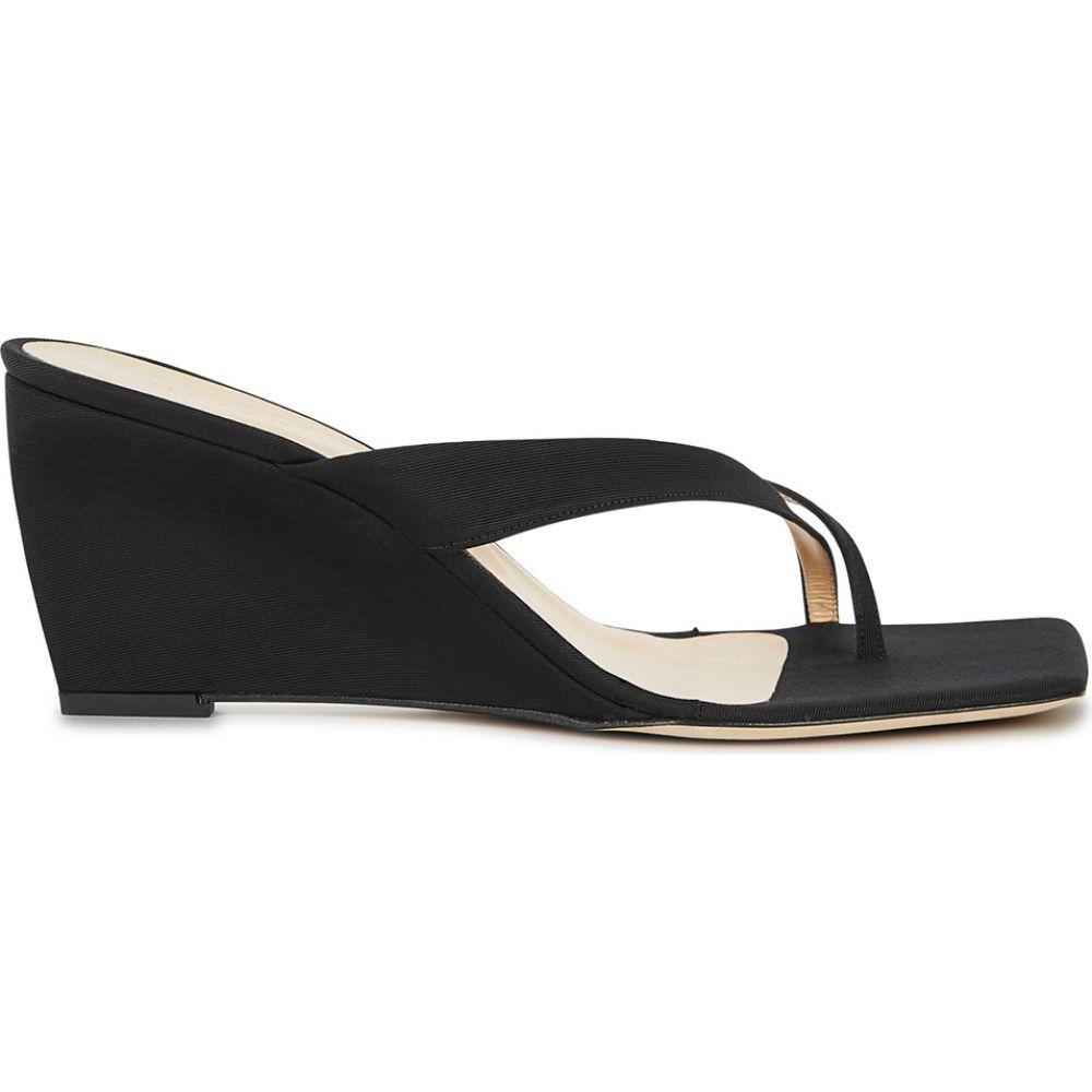 バイ ファー BY FAR レディース サンダル・ミュール ウェッジソール シューズ・靴【Theresa 75 Black Grosgrain Wedge Sandals】Black