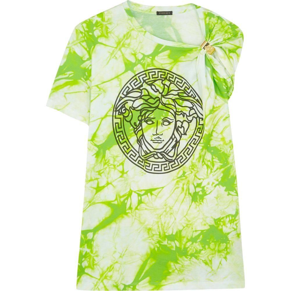 ヴェルサーチ Versace レディース Tシャツ トップス【Tie-Dye Medusa Cotton T-Shirt】Green