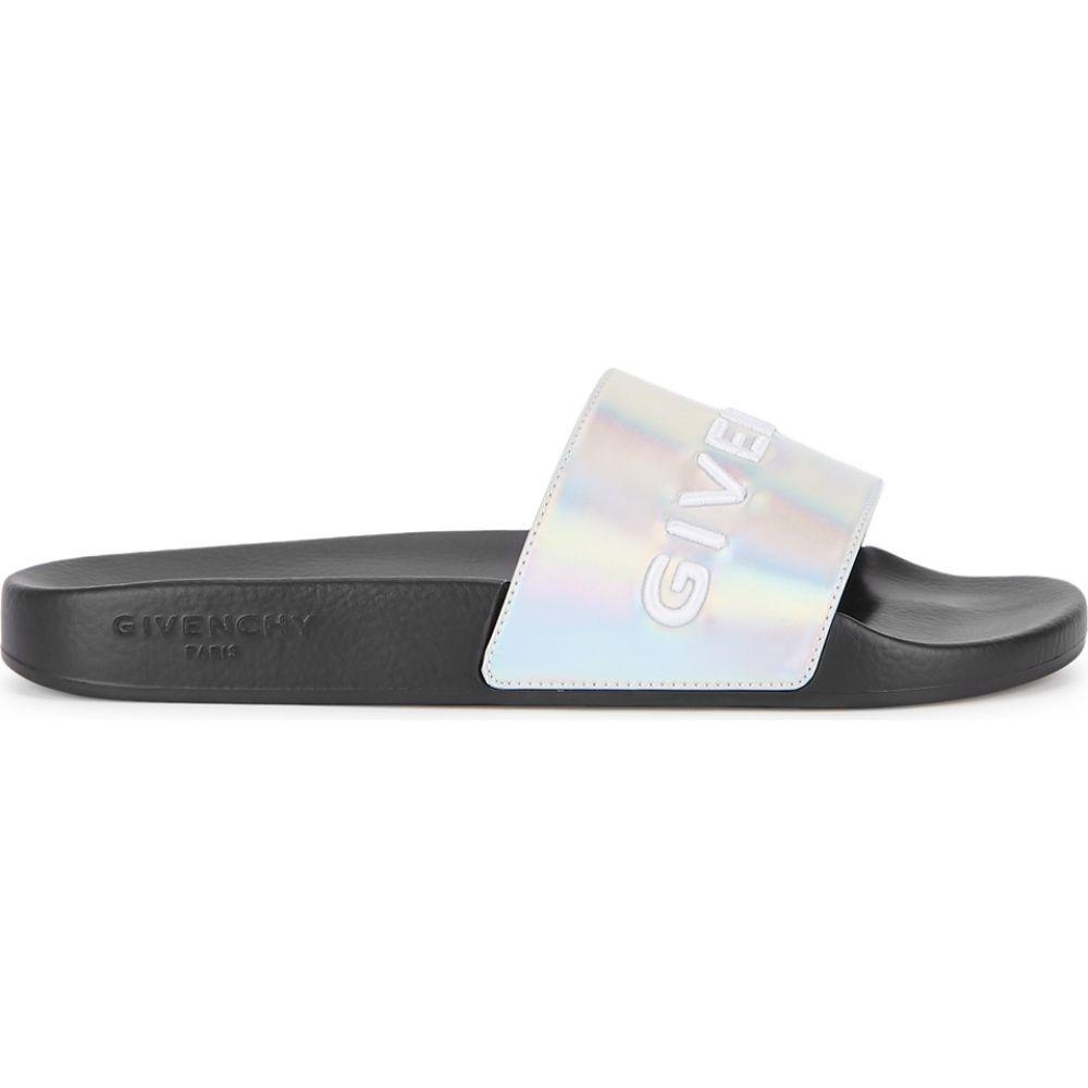 ジバンシー Givenchy レディース サンダル・ミュール シューズ・靴【Iridescent Logo Rubber Sliders】Black