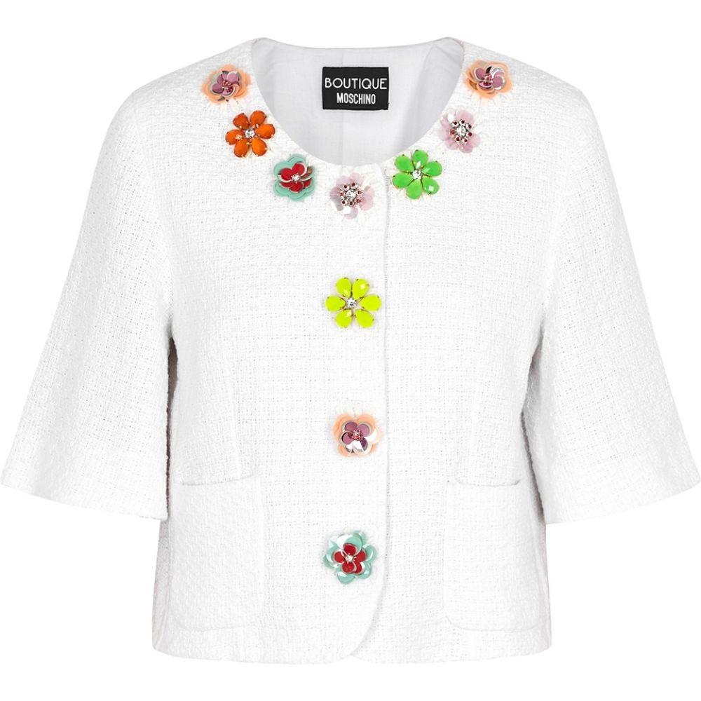 モスキーノ Boutique Moschino レディース ジャケット アウター【White Embellished Tweed Jacket】White