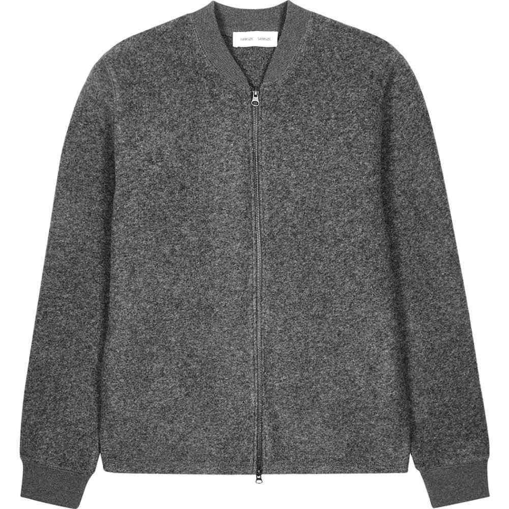 サムソエ&サムソエ Samsoe & Samsoe メンズ ブルゾン ミリタリージャケット アウター【Allaro Grey Knitted Bomber Jacket】Grey