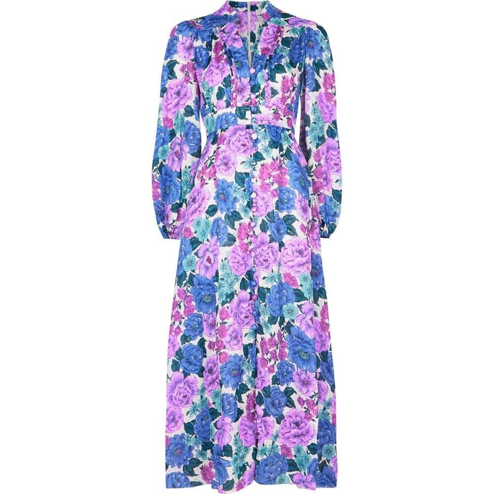 <title>ジマーマン レディース ワンピース ドレス サイズ交換無料 Zimmermann ミドル丈 Poppy Floral-Print 海外限定 Linen Midi Dress Purple</title>