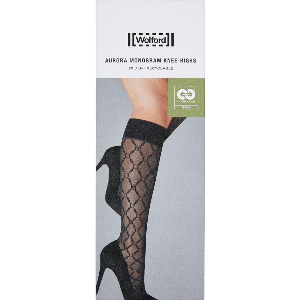 ウォルフォード 特売 レディース インナー 下着 ソックス サイズ交換無料 Wolford Aurora 20 Socks Knee-High Denier オンライン限定商品 Black Monogrammed