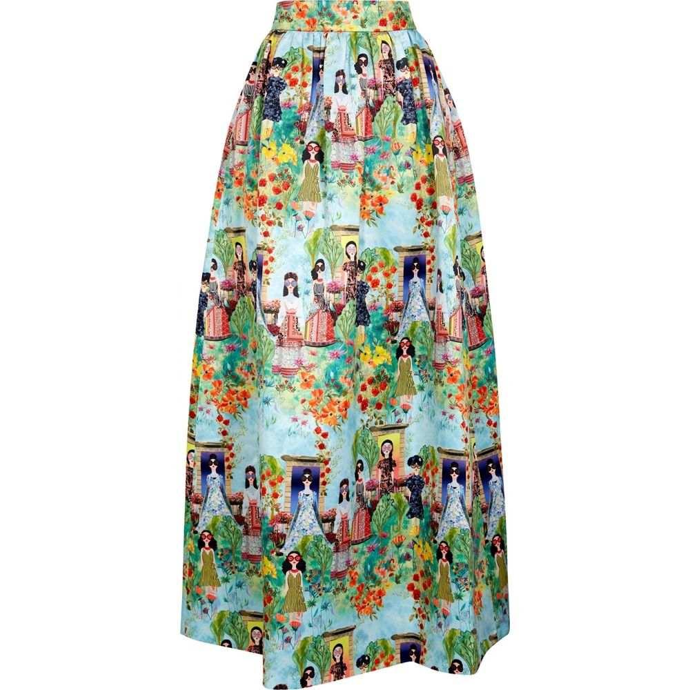 アリス アンド オリビア Alice + Olivia レディース ロング・マキシ丈スカート スカート【Tina Printed Satin Maxi Skirt】Multi