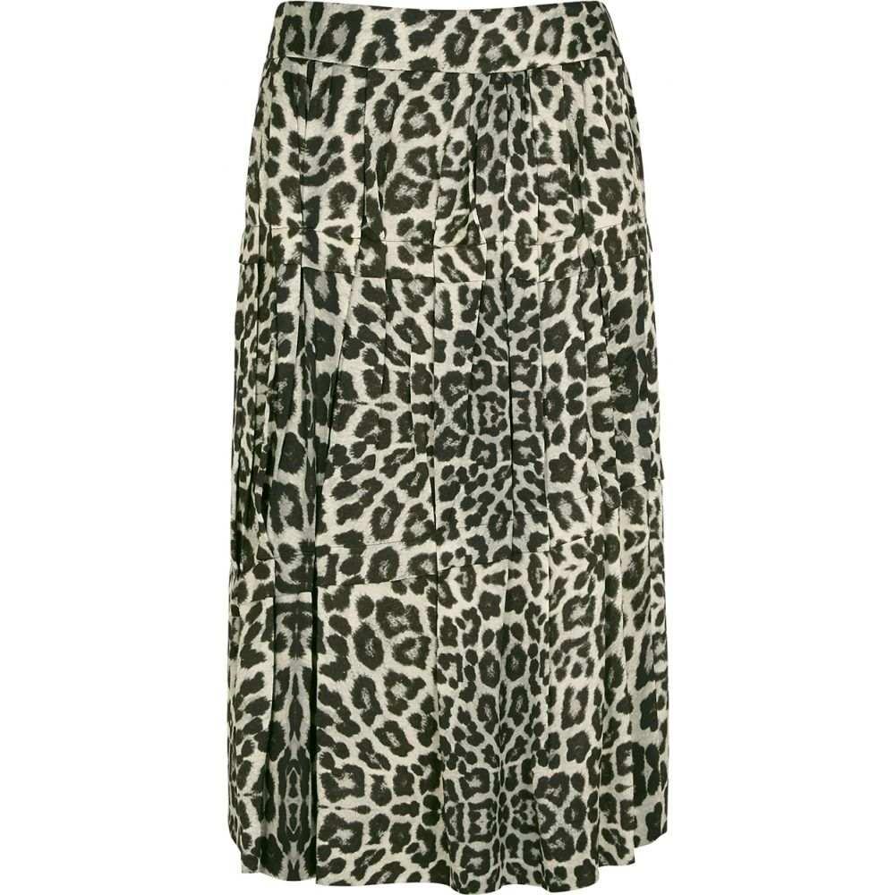 ドリス ヴァン ノッテン Dries Van Noten レディース ひざ丈スカート スカート【Suki Leopard-Print Satin Midi Skirt】Yellow
