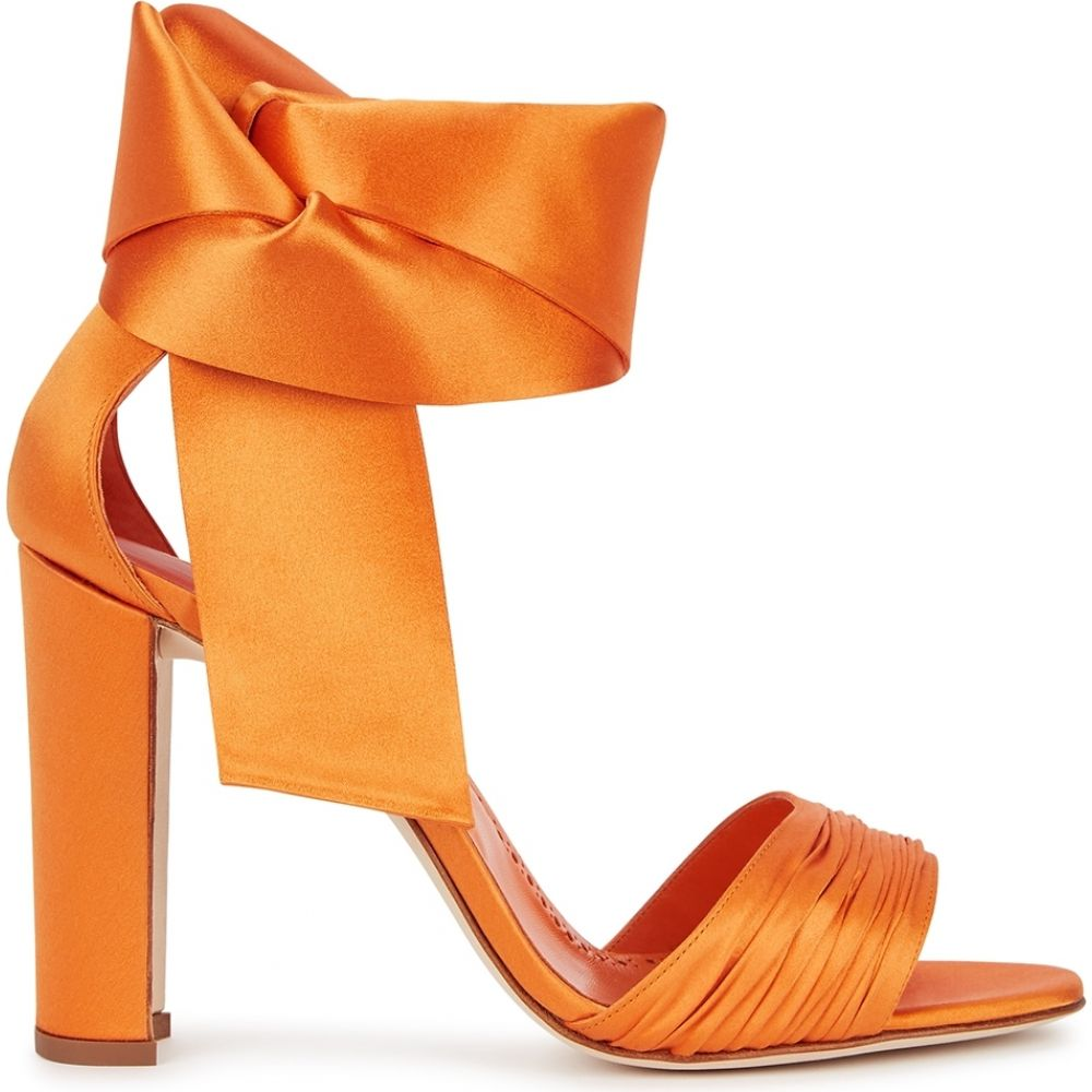 マノロブラニク Manolo Blahnik レディース サンダル・ミュール シューズ・靴【X Jonathan Simkhai Misam 105 Orange Silk-Satin Sandals】Orange