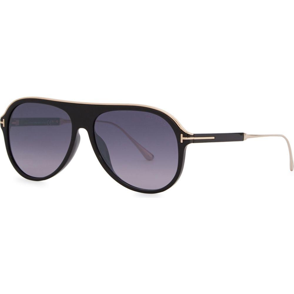 トム フォード Tom Ford Eyewear メンズ メガネ・サングラス 【Nicholai Aviator-Style Sunglasses】Black