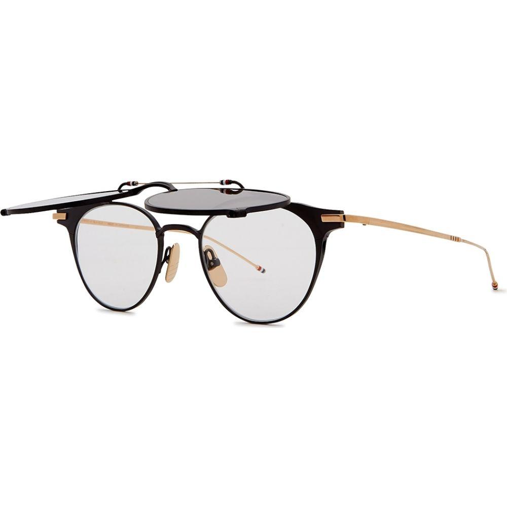 トム ブラウン Thom Browne レディース メガネ・サングラス ラウンド【Tb814 Flip-Up Round-Frame Glasses】Black
