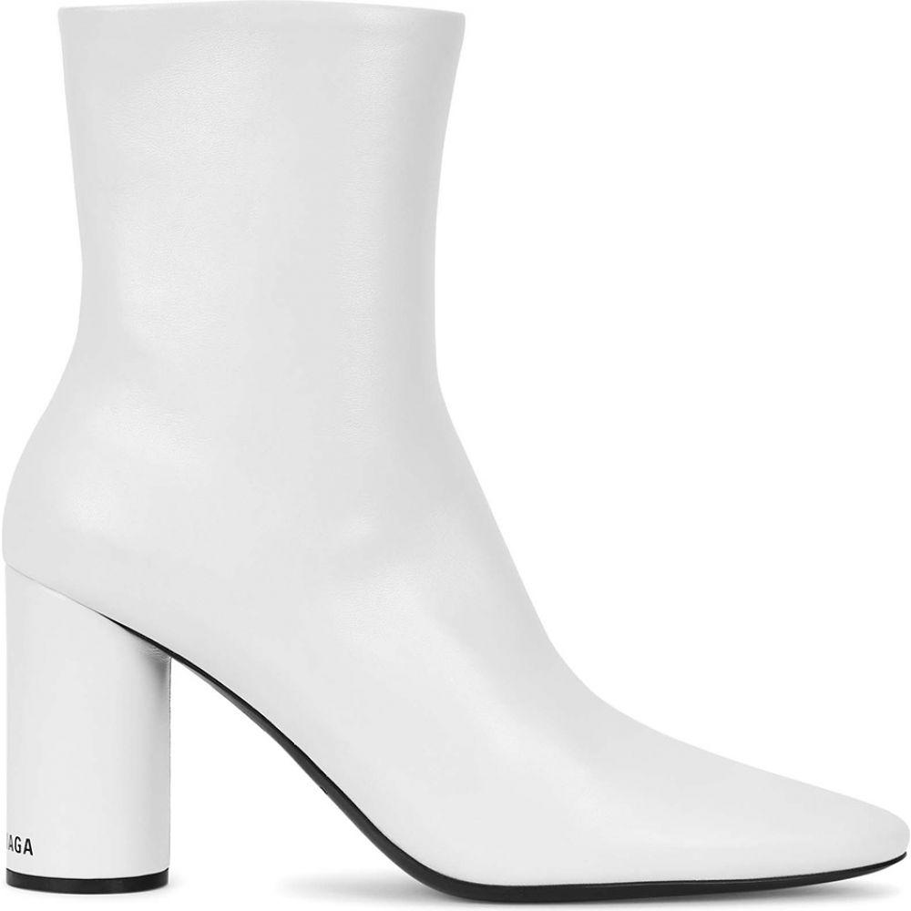 バレンシアガ Balenciaga レディース ブーツ ショートブーツ シューズ・靴【Oval 90 Glossed Leather Ankle Boots】White