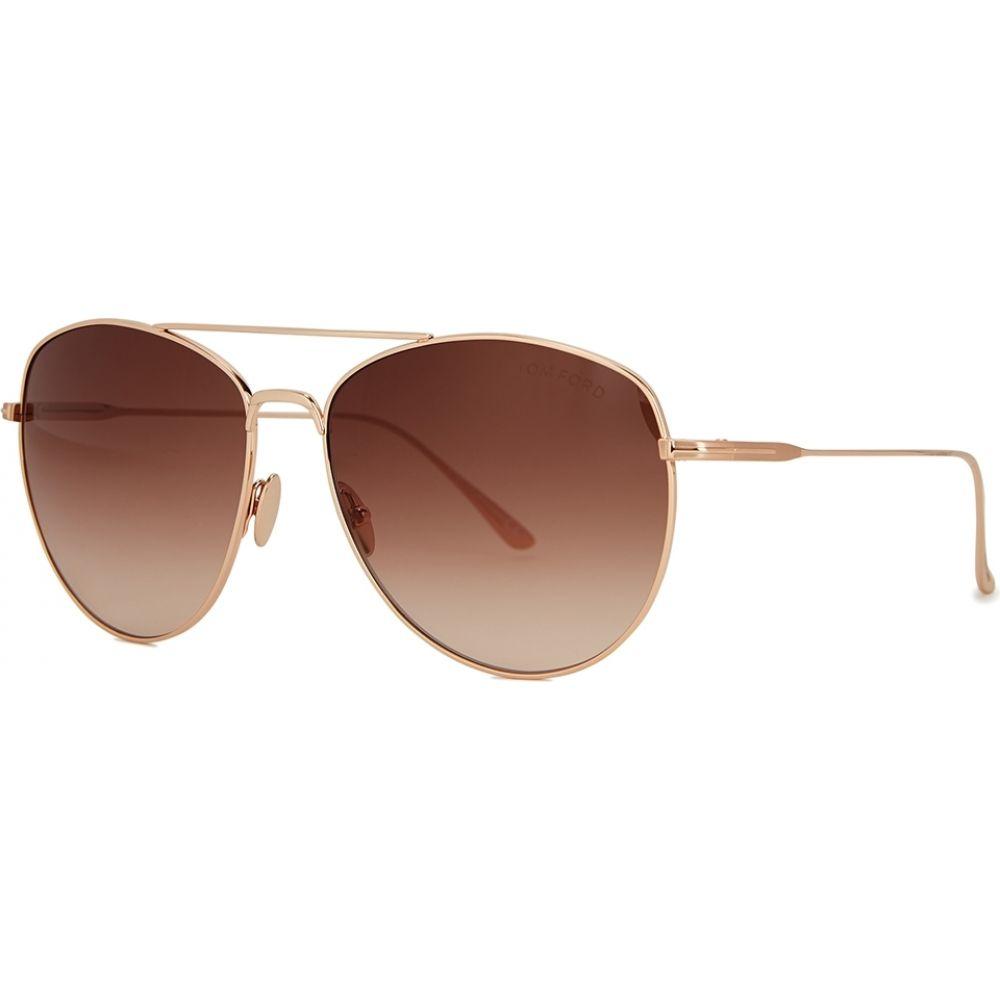 トム フォード Tom Ford レディース メガネ・サングラス 【Milla Rose Gold-Tone Aviator-Style Sunglasses】Brown
