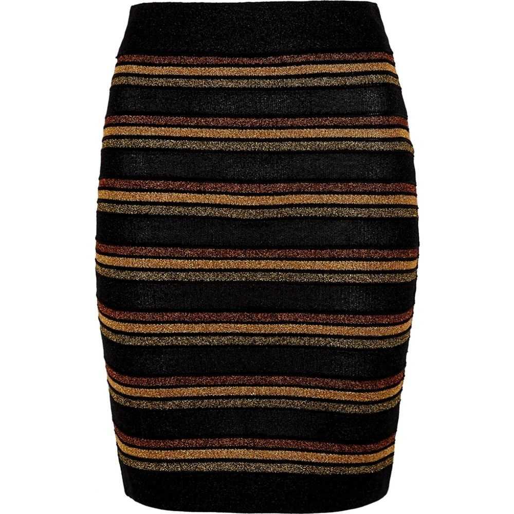 バルマン Balmain レディース ミニスカート スカート【Striped Metallic-Knit Mini Skirt】Black