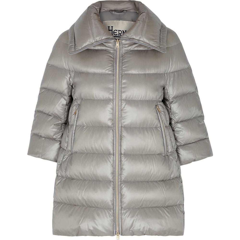 ヘルノ Herno レディース コート アウター【Icon Light Grey Quilted Shell Coat】Grey