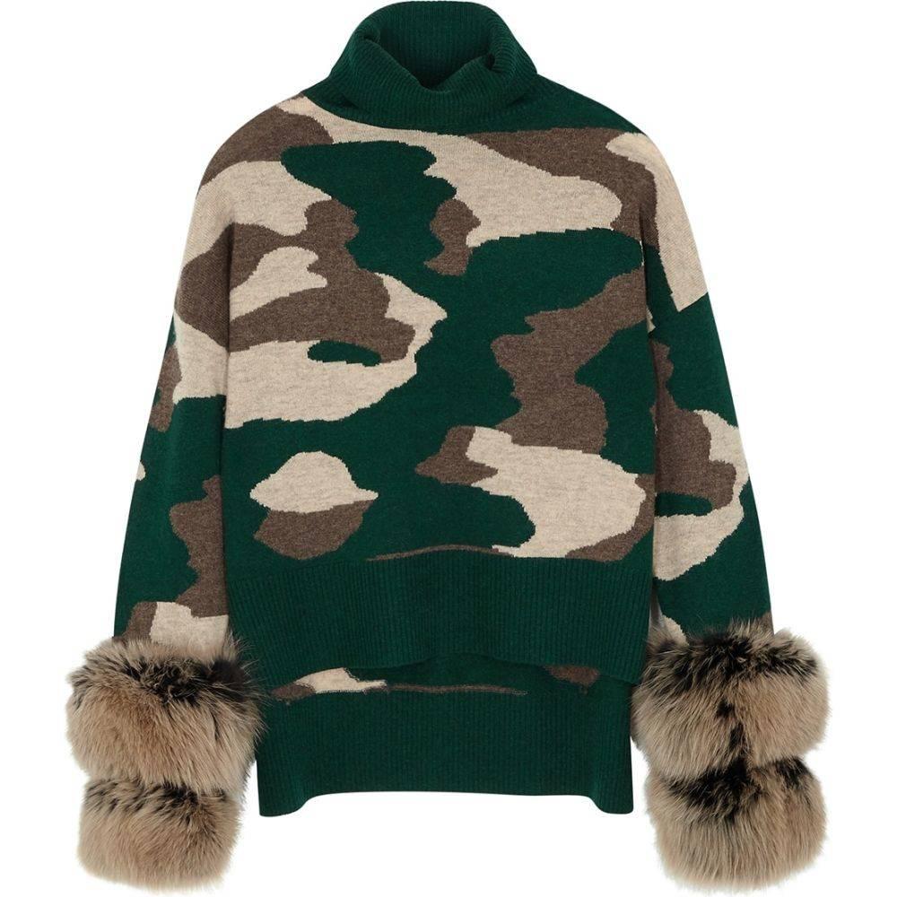 アイザック アザネイ Izaak Azanei レディース ニット・セーター トップス【Camouflage-Print Wool And Cashmere-Blend Jumper】Green