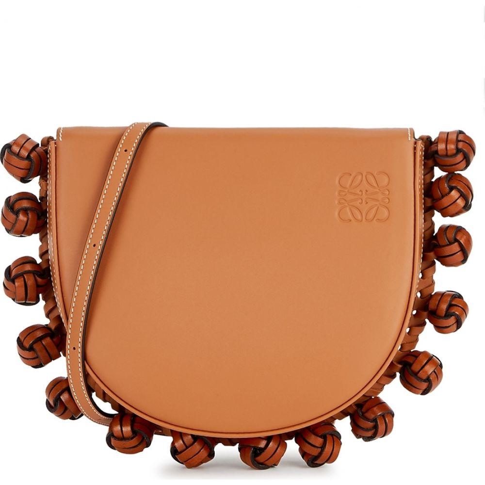 ロエベ Loewe レディース ショルダーバッグ バッグ【Heel Knots Brown Leather Cross-Body Bag】Brown