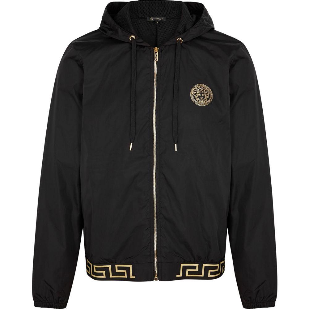 ヴェルサーチ Versace メンズ ジャケット フード シェルジャケット アウター【Black Hooded Shell Jacket】Black