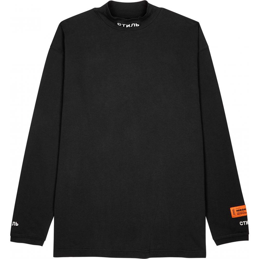 ヘロン プレストン Heron Preston メンズ 長袖Tシャツ トップス【Ctnmb Black Embroidered Cotton Top】Black