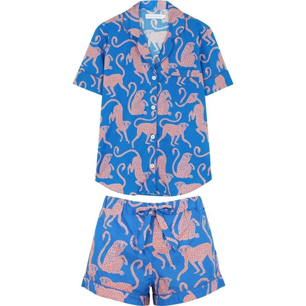 デズモンド&デンプシー Desmond & Dempsey レディース パジャマ・上下セット インナー・下着【Chango printed cotton pyjama set】Blue