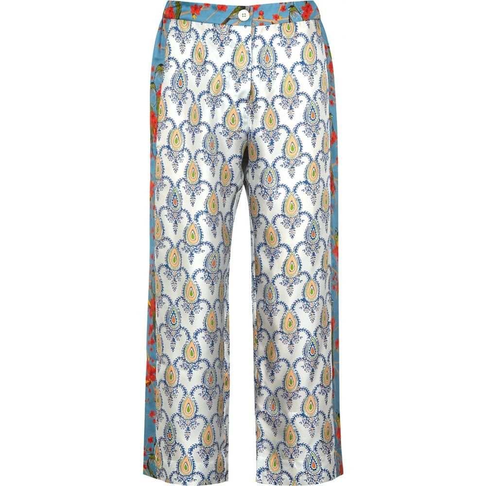 ラ プレスティック ウィストン La Prestic Ouiston レディース クロップド ボトムス・パンツ【Cuba Printed Wide-Leg Silk Trousers】Blue