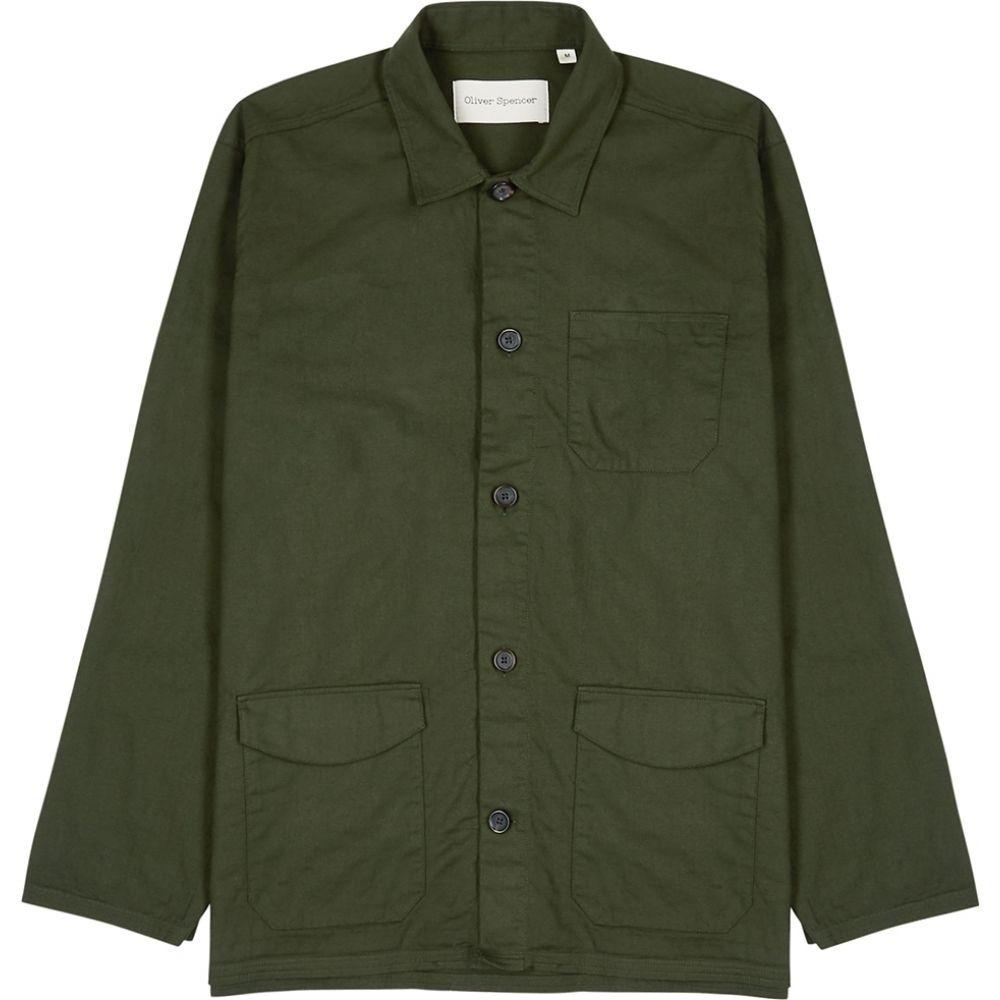 オリバー スペンサー Oliver Spencer メンズ ジャケット アウター【Hockney Forest Green Cotton Shirt】Green