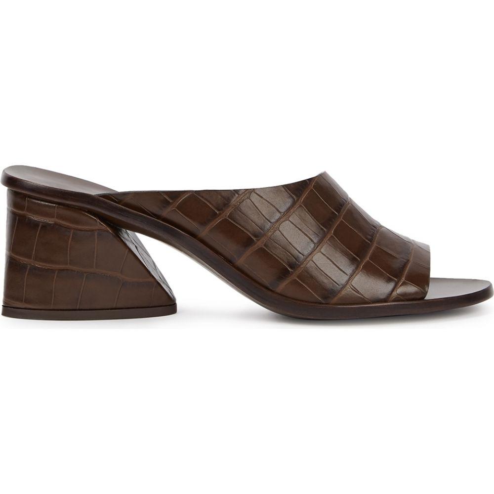 メルセデス カステロ Mercedes Castillo レディース サンダル・ミュール シューズ・靴【Izar 65 Crocodile-Effect Leather Mules】Brown