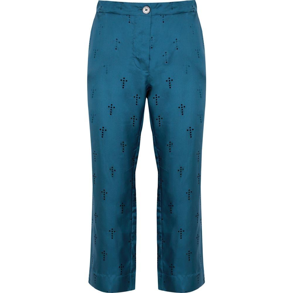 ラ プレスティック ウィストン La Prestic Ouiston レディース クロップド ボトムス・パンツ【Lucky Blue Perforated Silk Trousers】Blue