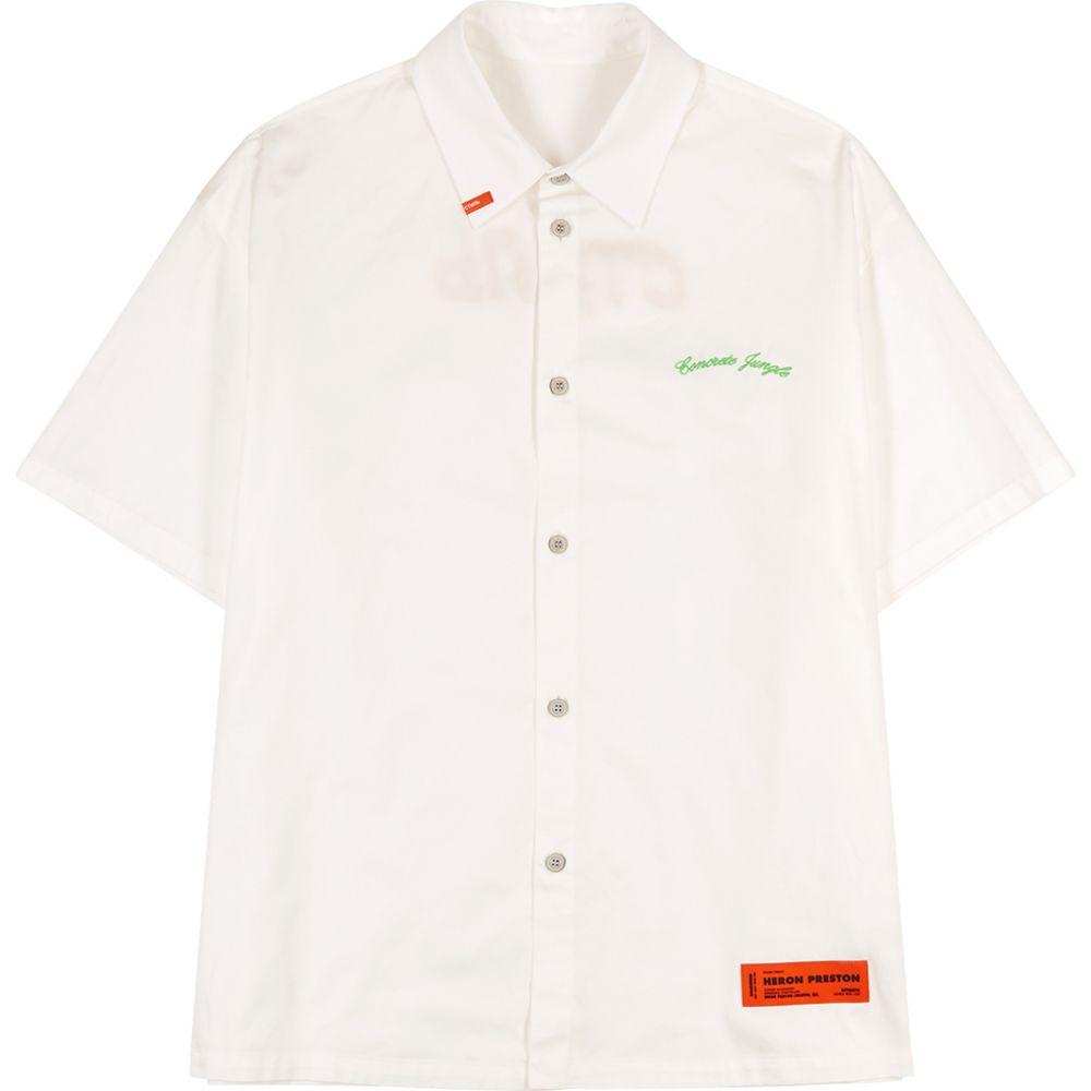 ヘロン プレストン Heron Preston メンズ 半袖シャツ トップス【White Printed Cotton Shirt】White