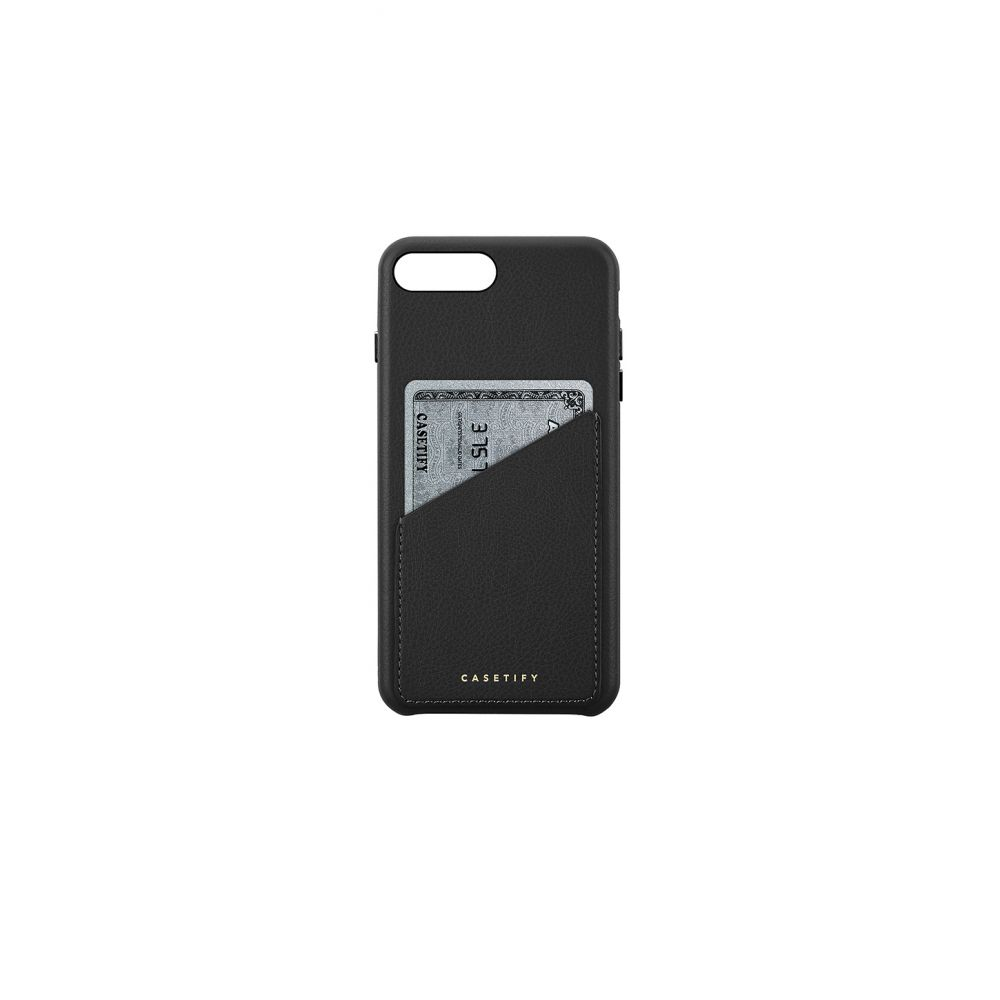 ケースティフィ レディース iPhone (8 Plus)ケース【Leather Card iPhone 6/7/8 Plus Case】Black