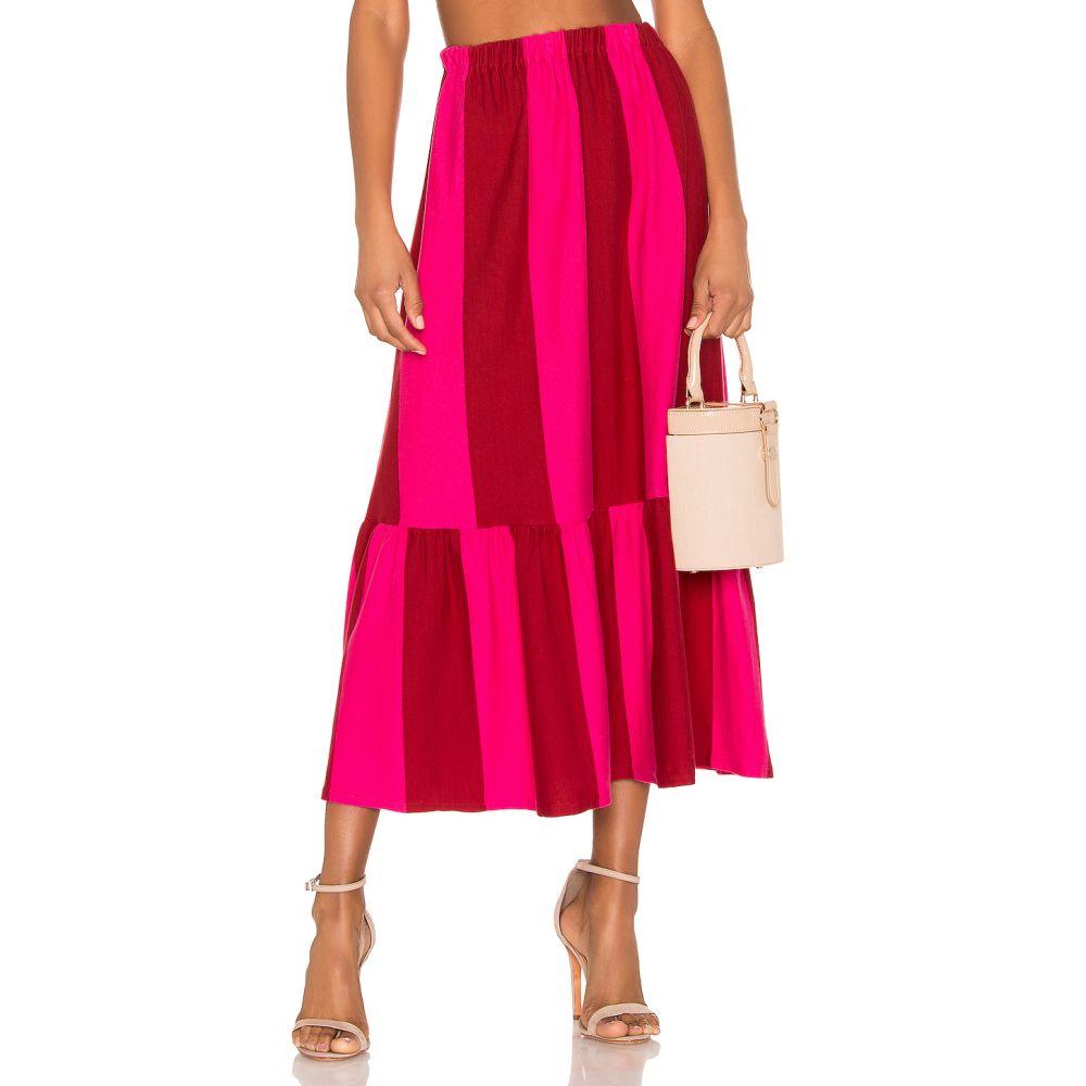エムディーエス ストライプ MDS Stripes レディース スカート【Knit Skirt】Red & Pink Bold Stripe