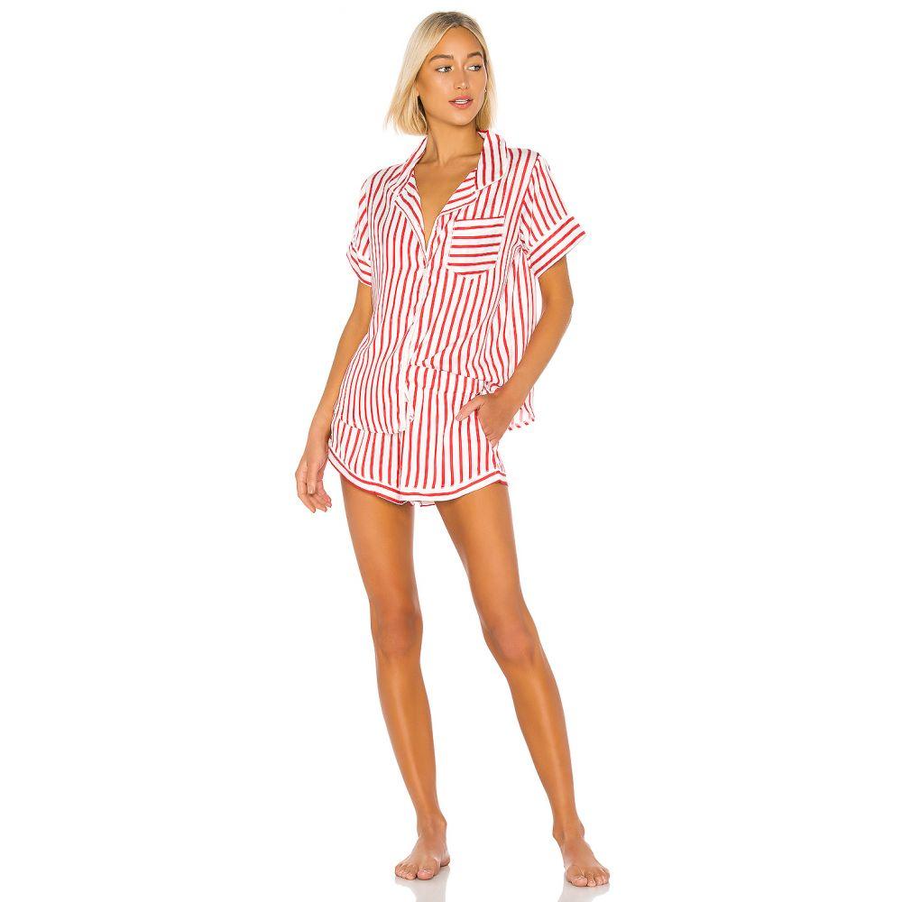 プラッシュ Plush レディース インナー・下着 パジャマ・上下セット【PJ Set】Red & White Stripe