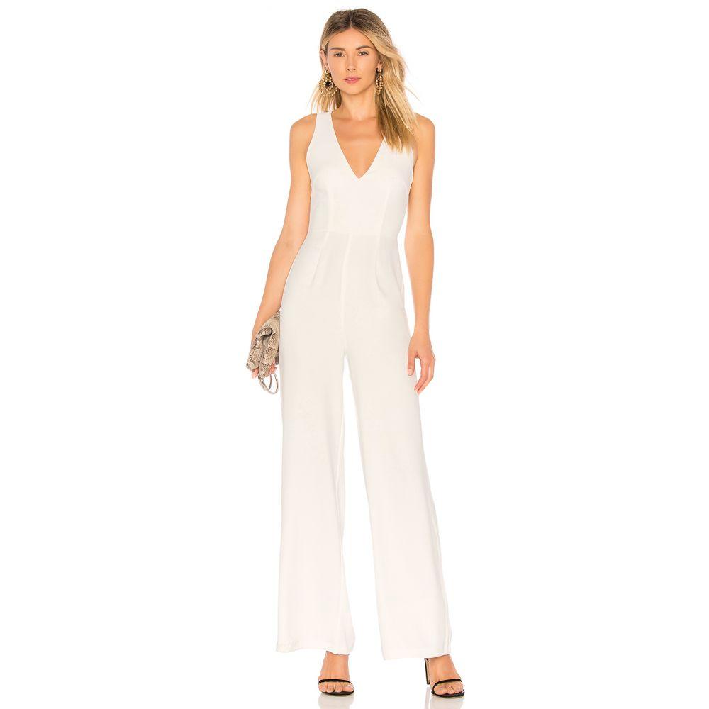 バイ ザ ウェイ by the way. レディース ワンピース・ドレス オールインワン【Carmela Deep V Wide Leg Backless Jumpsuit】White