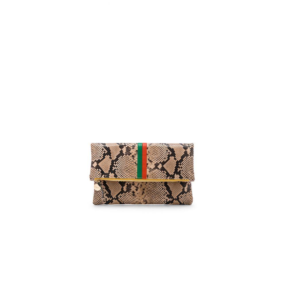 クレア ヴィヴィエ Clare Clare V. Poppy レディース Stripes バッグ クラッチバッグ【Foldover Clutch】Cortado Spring Snake & Emerald Poppy Stripes, リュック デイパック通販 たじま屋:631b83f1 --- sunward.msk.ru