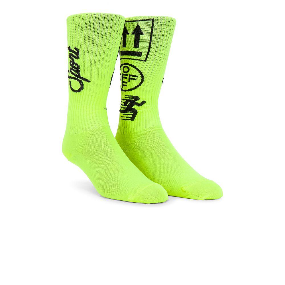 逆輸入 オフ-ホワイト OFF-WHITE レディース インナー・下着 ソックス【Long Sport Sock】Fluorescent Yellow Black, ハッピーチャイルド a43c91aa