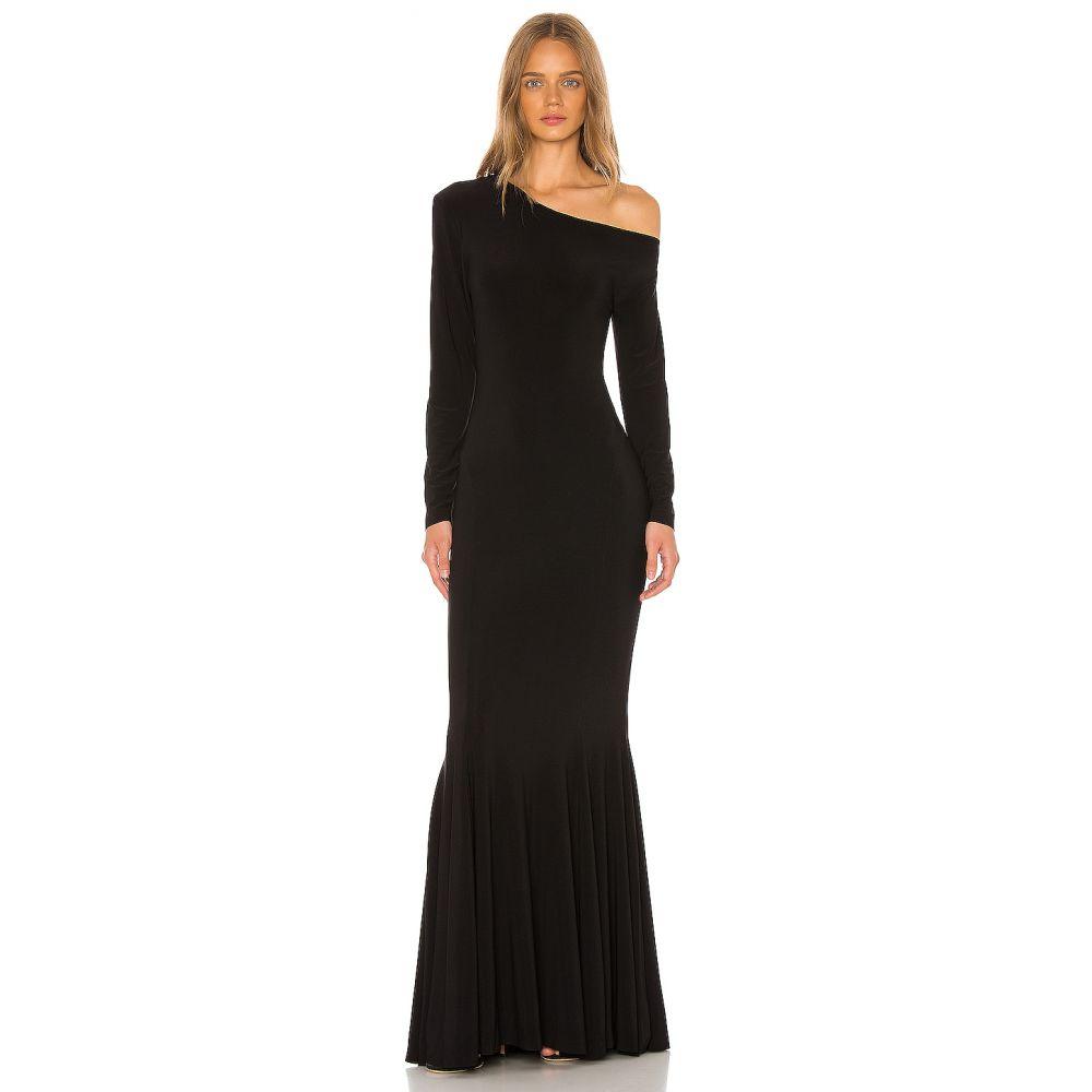 ノーマ カマリ Norma Kamali レディース パーティードレス ドロップショルダー ワンピース・ドレス【Long Sleeve Drop Shoulder Fishtail Gown】Black