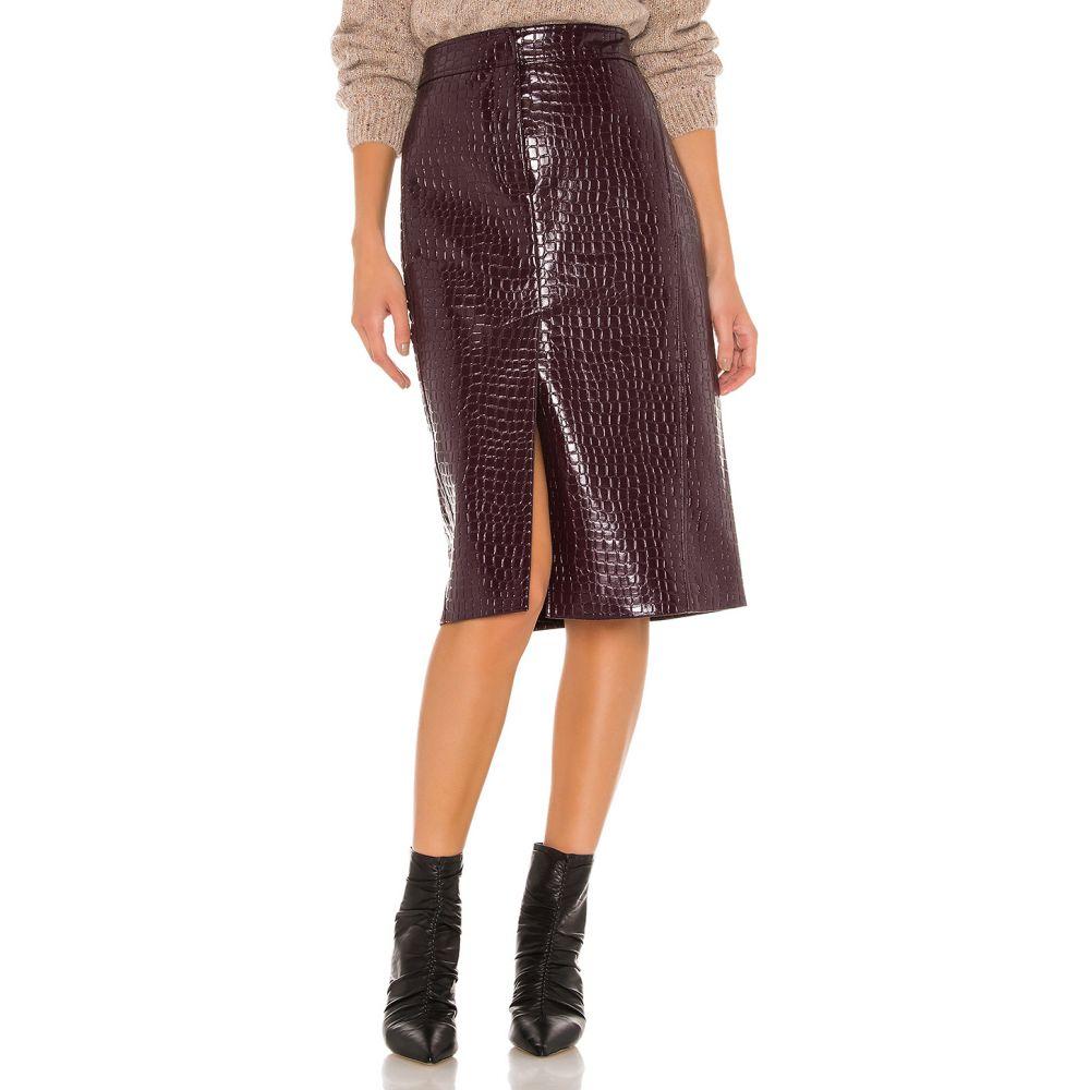 ティビ Tibi レディース スカート 【Croc Embossed Patent Trouser Skirt】Burnt Raspberry