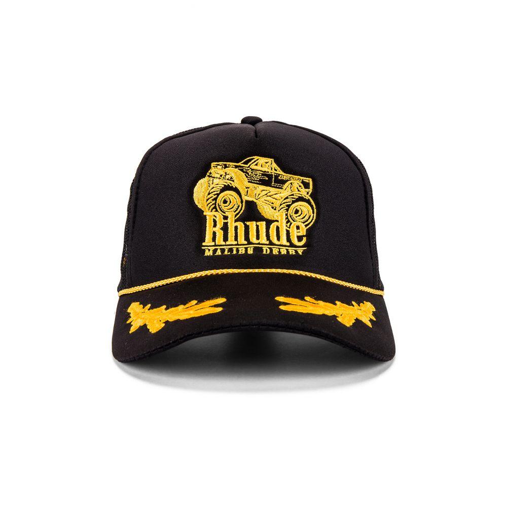 ルード メンズ 帽子 キャップ Black/Yellow 【サイズ交換無料】 ルード Rhude メンズ キャップ 帽子【Malibu Derby Trucker】Black/Yellow