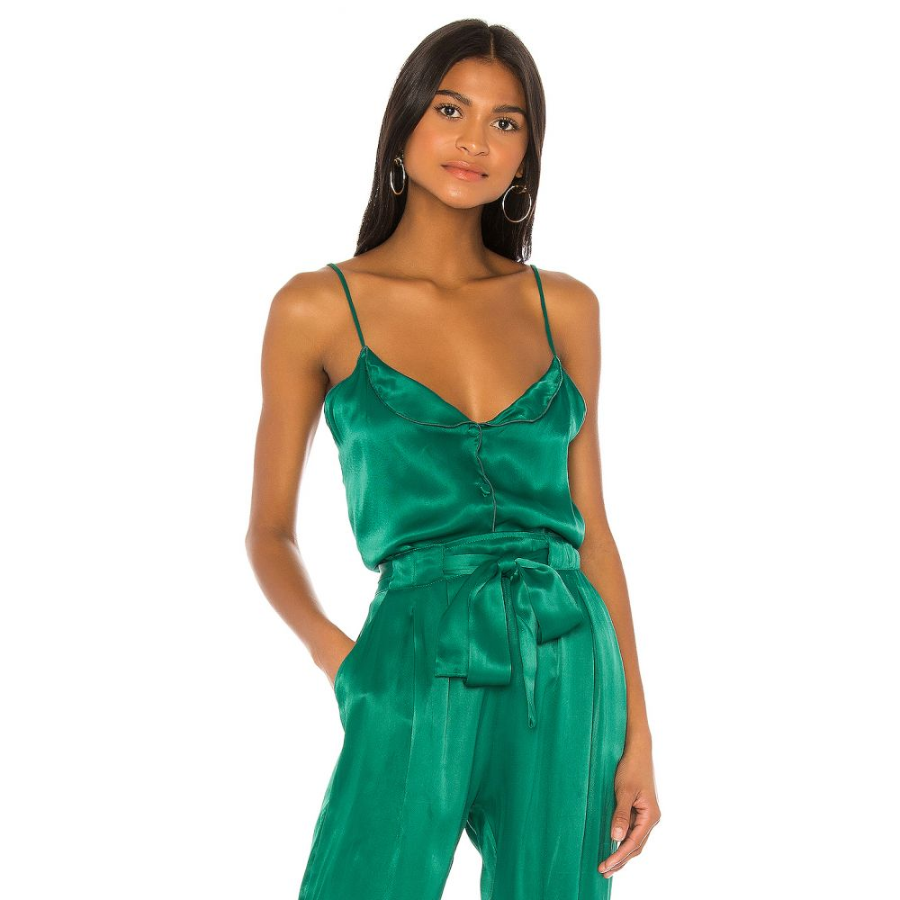 インダー Indah レディース スリップ・キャミソール インナー・下着【Luck Solid Button Front Cami】Emerald